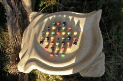Solitaire en pierre et verre