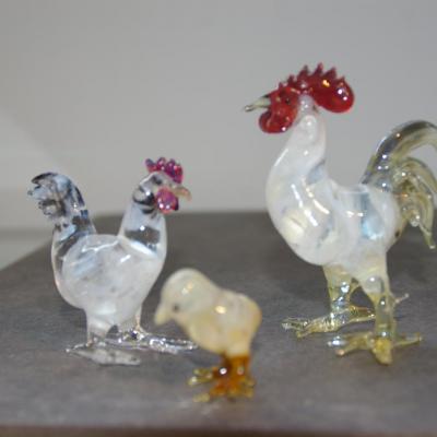 Coq, poule et poussin